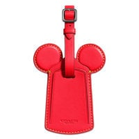 Mickey Mouse Ears Leather Luggage Tag by COACH - Red