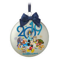 Image of Mickey Mouse and Friends Glass Disk Ornament - Walt Disney World 2019 # 1