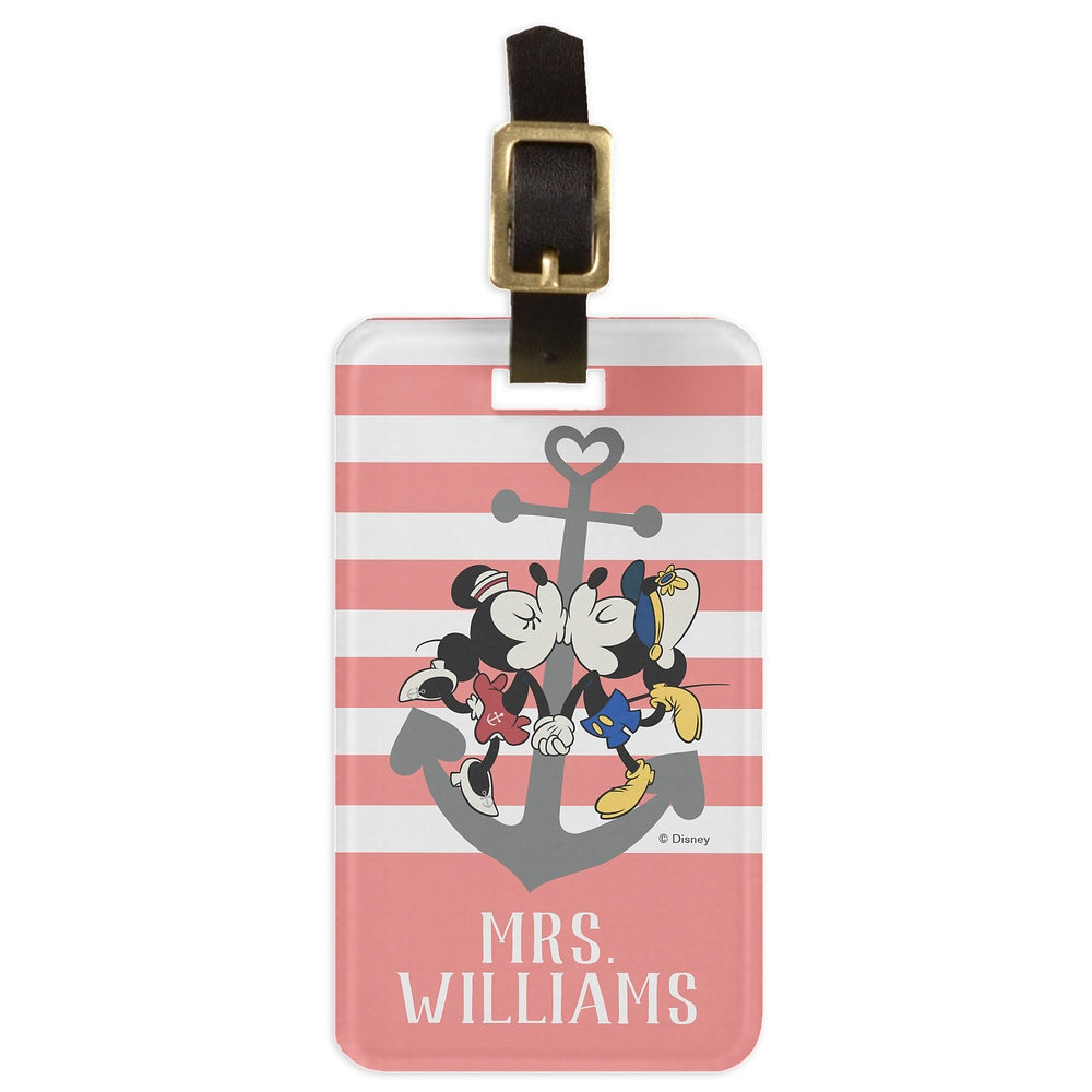 Mickey and Minnie Mouse Pink Luggage Tag - Customizable - Disney Cruise Line