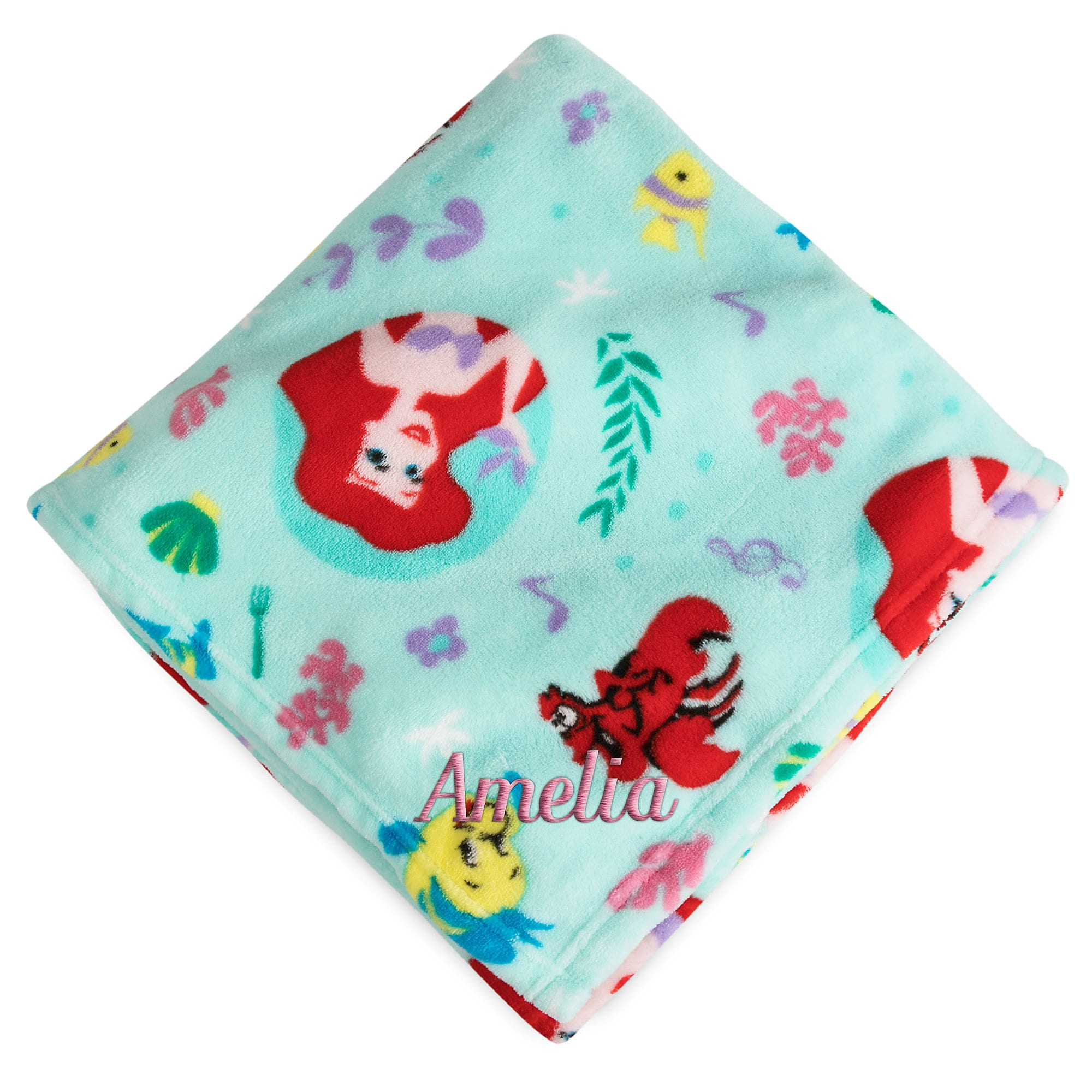 Ariel, Flounder, and Sebastian Fleece Throw - Personalizable - The Little Mermaid