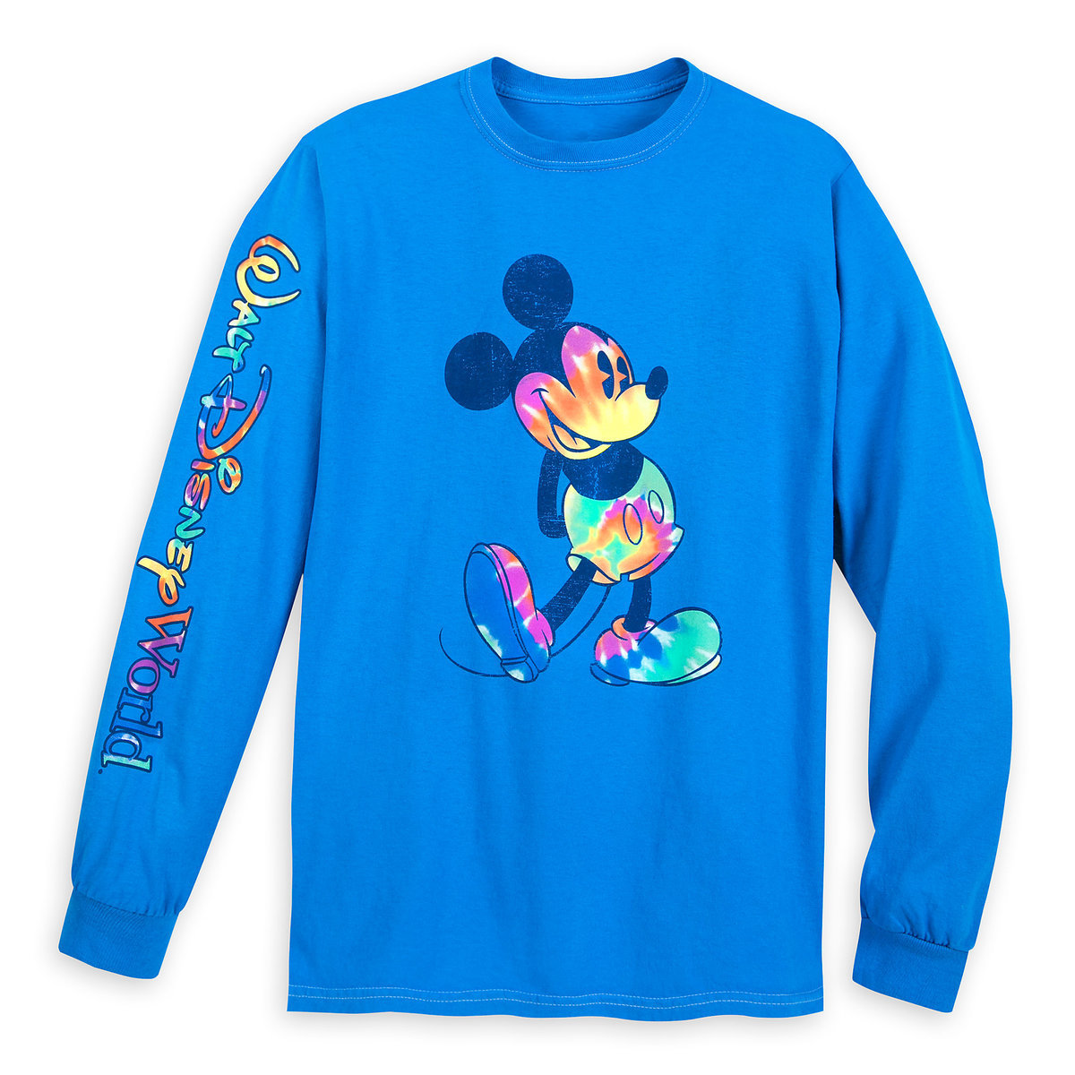 63ec85c3af4aa8 Product Image of Mickey Mouse Long Sleeve Tie-Dye Print T-Shirt for Adults
