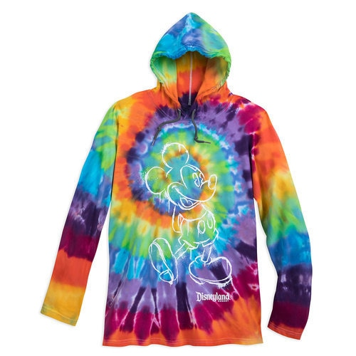 Mickey Mouse Long Sleeve Hooded Tie Dye T Shirt For Adults