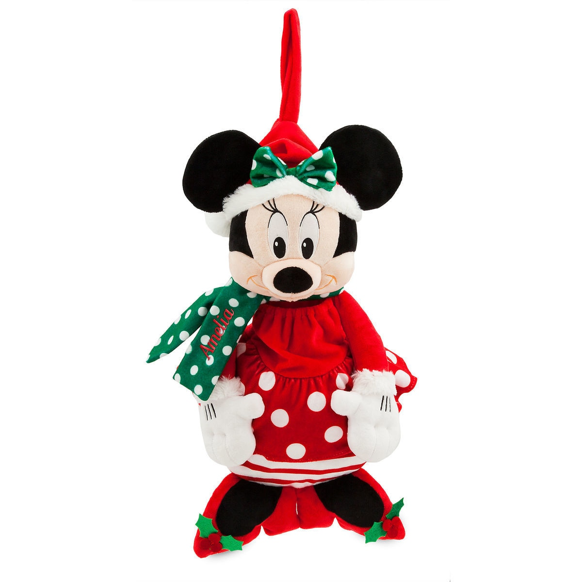 santa minnie mouse stocking personalizable shopdisney
