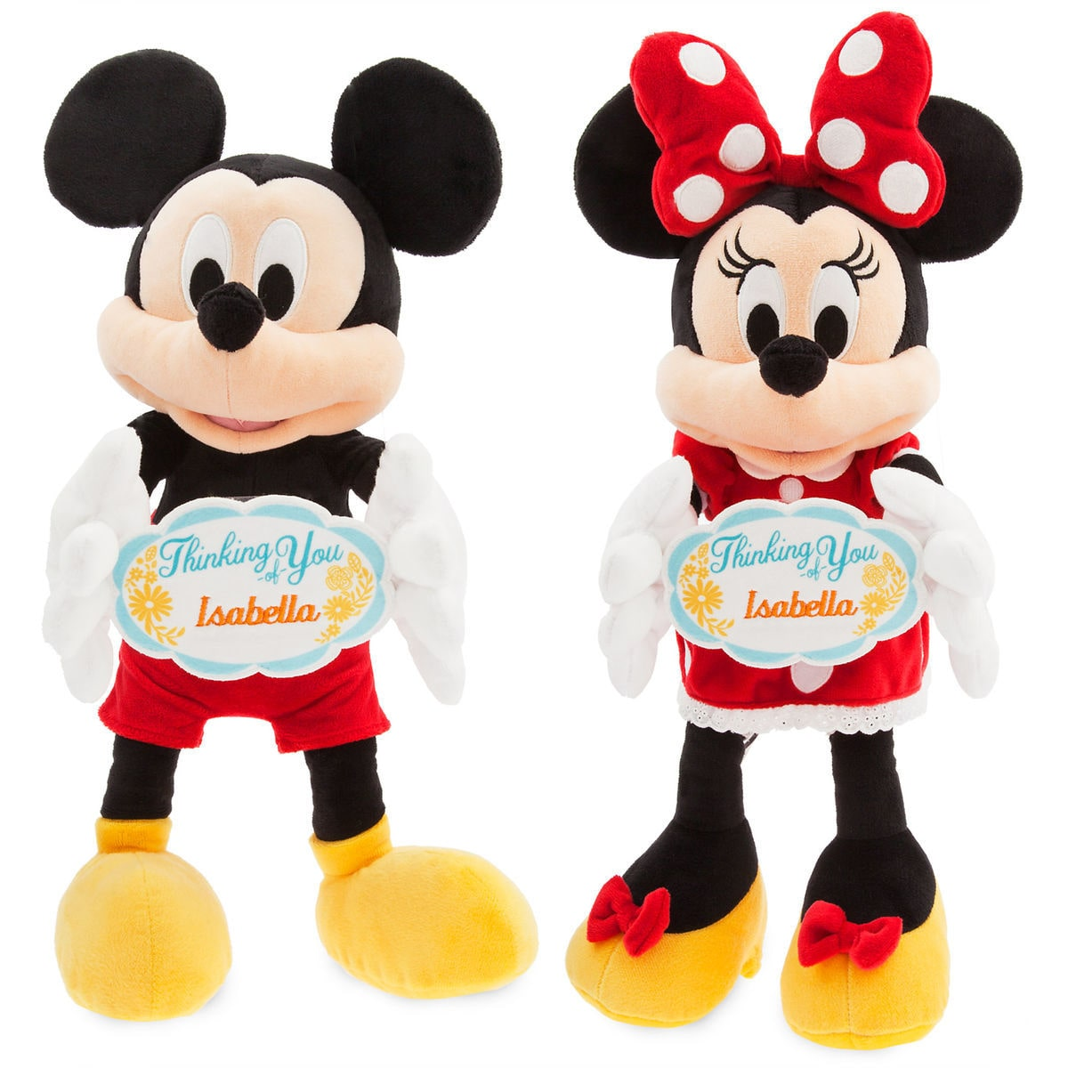 mickey and minnie mouse thinking of you message plush collection