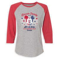 Image of Women's Mickey Mouse 4th of July Raglan T-Shirt - Disneyland - Customized # 1