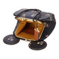 Image of Minnie Mouse Floral Kisslock Leather Bag by COACH - Black # 4