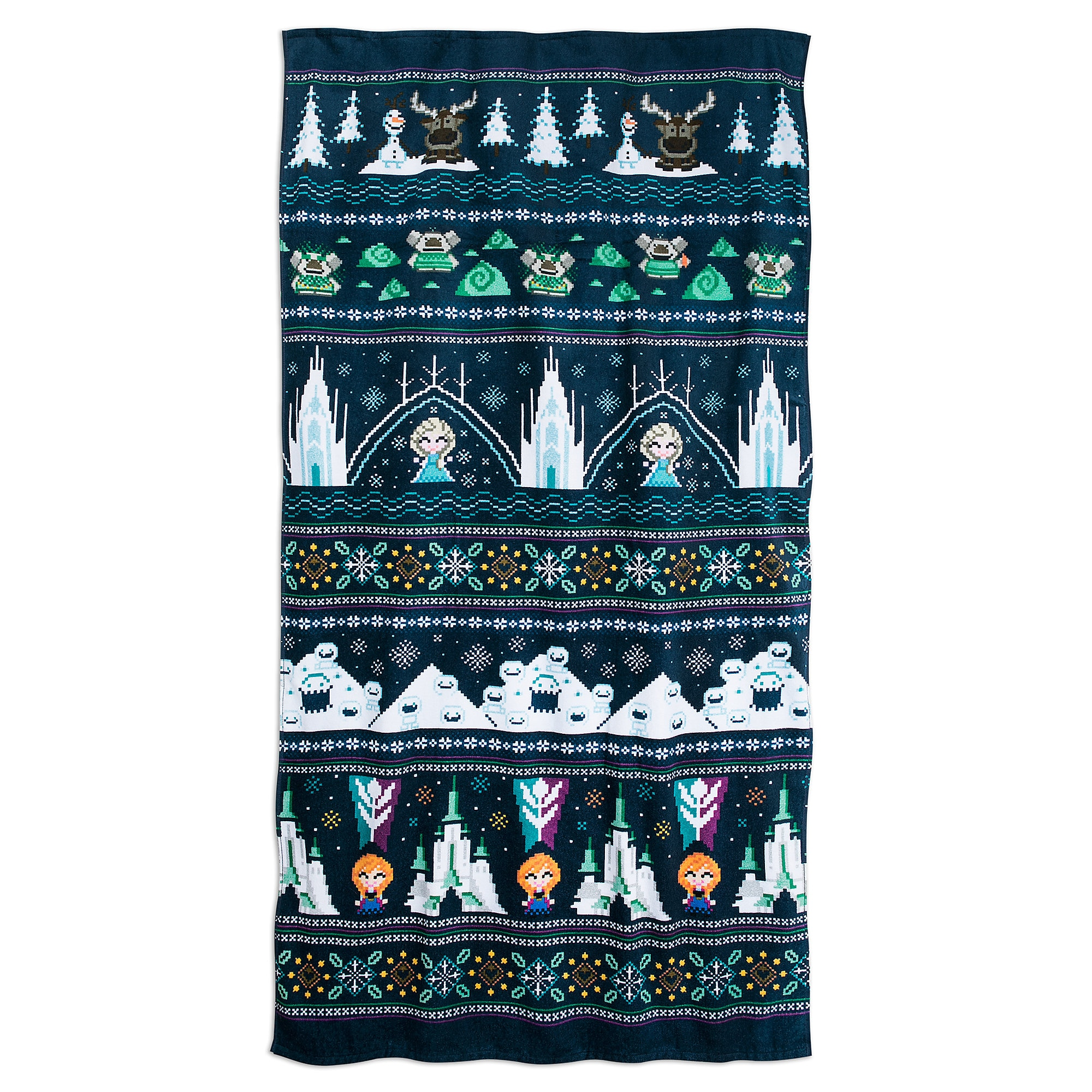 Frozen Holiday Cross Stitch Beach Towel