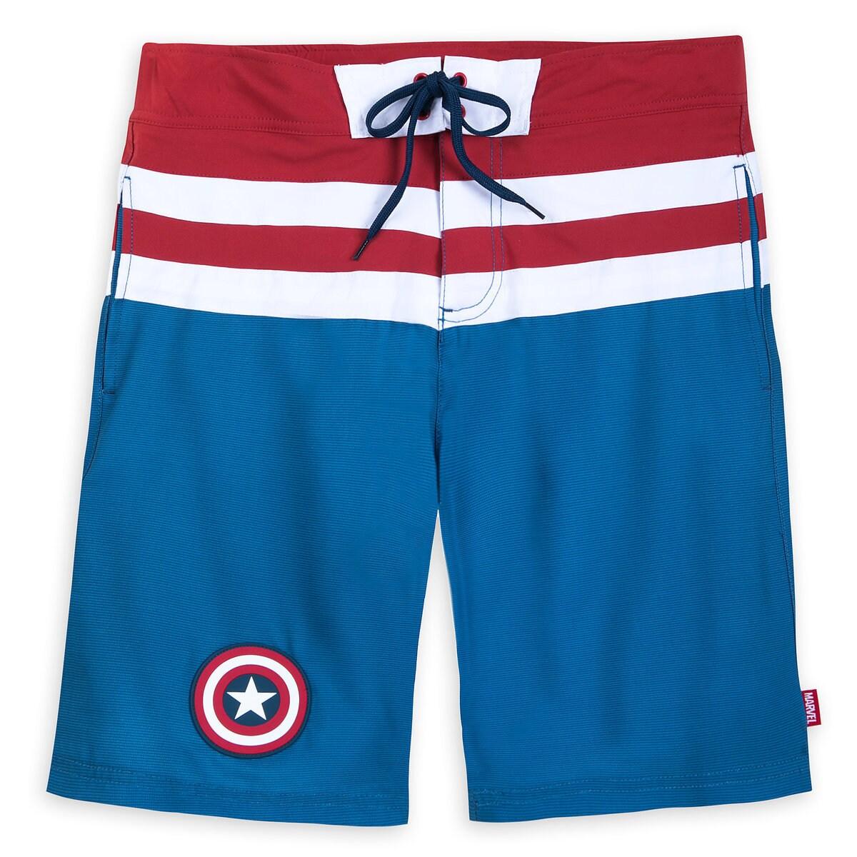 4b085c5f96163 Product Image of Captain America Swim Trunks for Men # 1