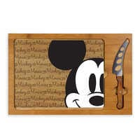 Image of Mickey Mouse Glass Top Serving Tray and Knife Set # 1