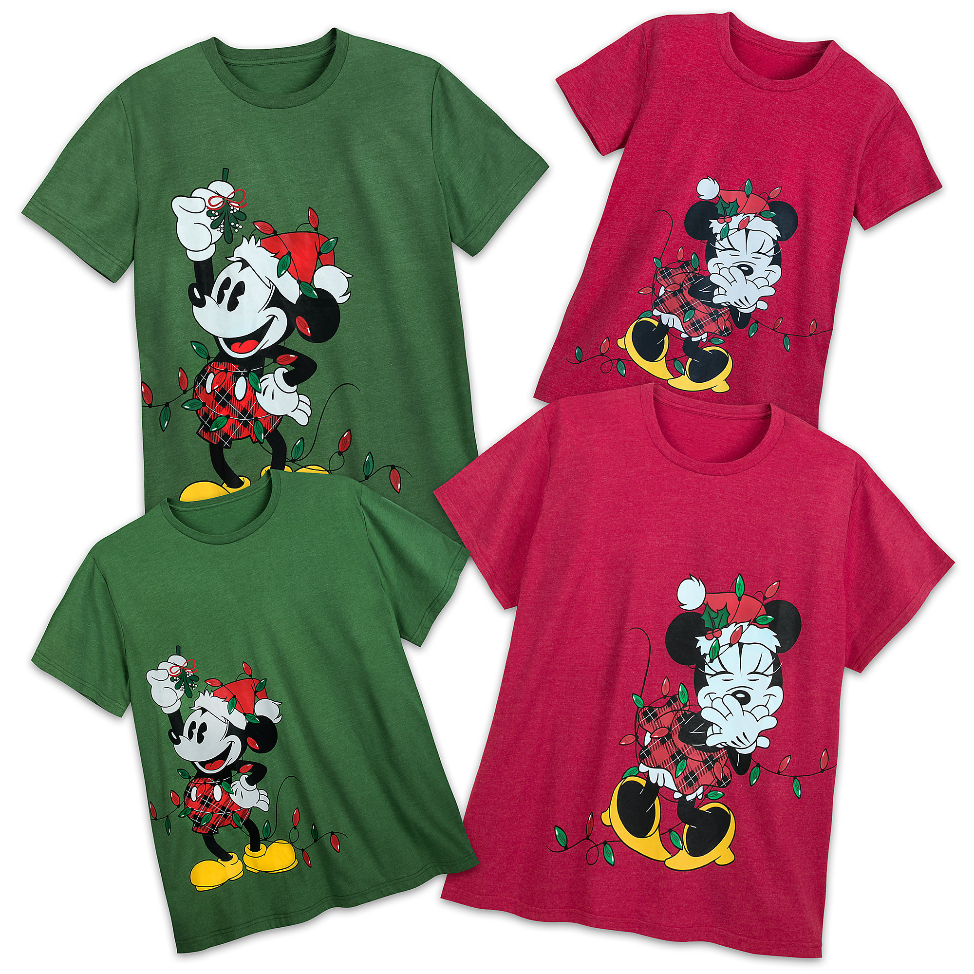 Santa Mickey and Minnie Mouse Holiday Lights T-Shirt Collection for Adults