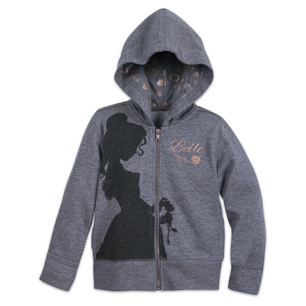 Belle Zip Up Hooded Sweatshirt For Girls Beauty And The Beast