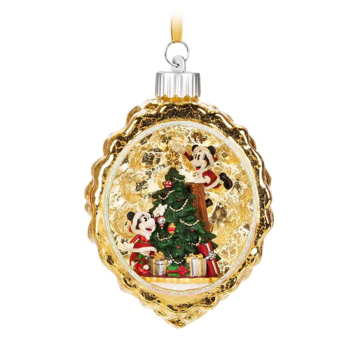 product image of santa mickey and minnie mouse light up ornament 1