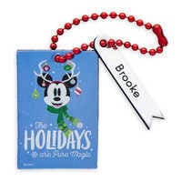 Image of Santa Mickey Mouse ''The Holidays Are Pure Magic'' Leather Luggage Tag - Personalizable # 1