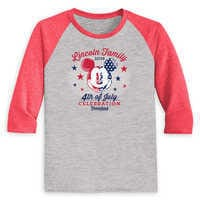 Image of Youths' Mickey Mouse 4th of July Raglan T-Shirt - Disneyland - Customized # 1