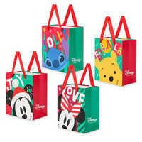 Image of Santa Mickey Mouse and Friends Small Gift Bag Set # 2