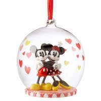 Image of Mickey and Minnie Mouse Glass Globe Sketchbook Ornament # 1
