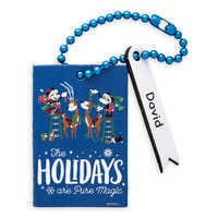 Image of Santa Mickey and Minnie Mouse ''The Holidays are Pure Magic'' Leather Luggage Tag - Personalizable # 1