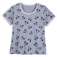 Image of Mickey Mouse Allover Ringer T-Shirt for Women - Extended Size # 1