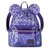 Image of Minnie Mouse Potion Purple Sequined Mini Backpack by Loungefly # 1