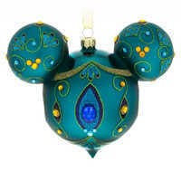 Image of Mickey Mouse Icon Glass Ornament - Peacock # 1