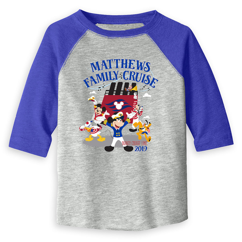Toddlers' Captain Mickey Mouse and Crew Disney Cruise Line Family Cruise 2019 Raglan T-Shirt - Customized