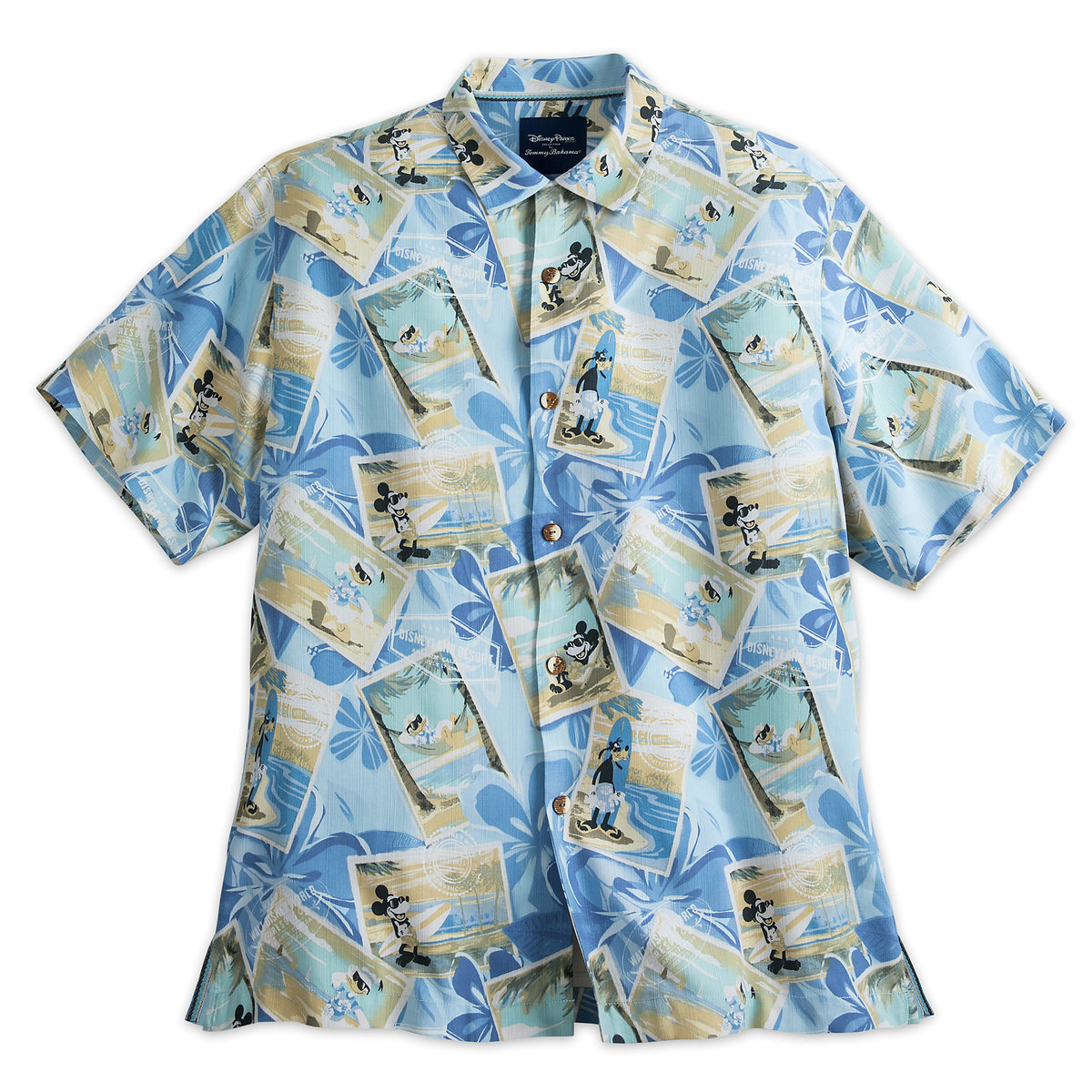 Product Image of Mickey Mouse and Friends Silk Shirt for Men by Tommy Bahama - Blue # 1