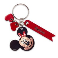 Minnie Mouse Face Leather Keychain - Personalizable