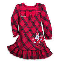 Image of Minnie Mouse Holiday Plaid Nightshirt for Girls - Personalizable # 1