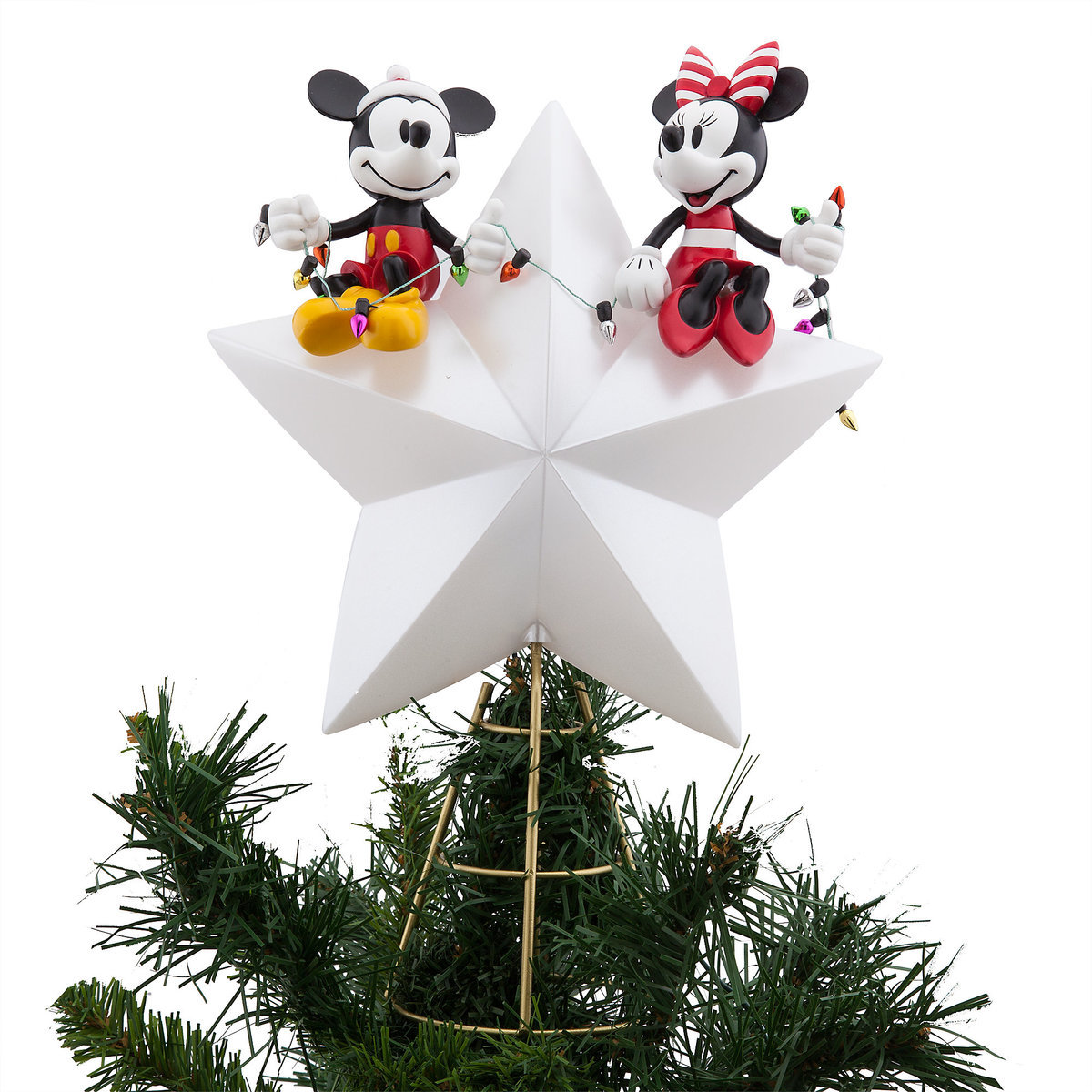 d8a89336d12 Product Image of Mickey and Minnie Mouse Light-Up Holiday Tree Topper   1