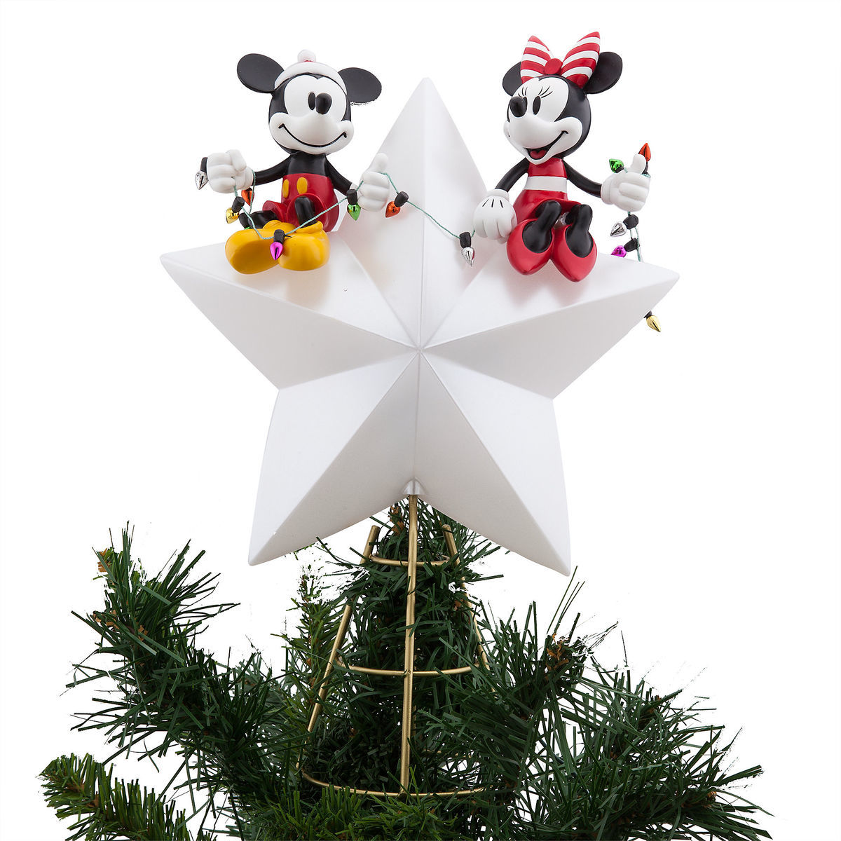 Mickey and Minnie Mouse Light-Up Holiday Tree Topper | shopDisney