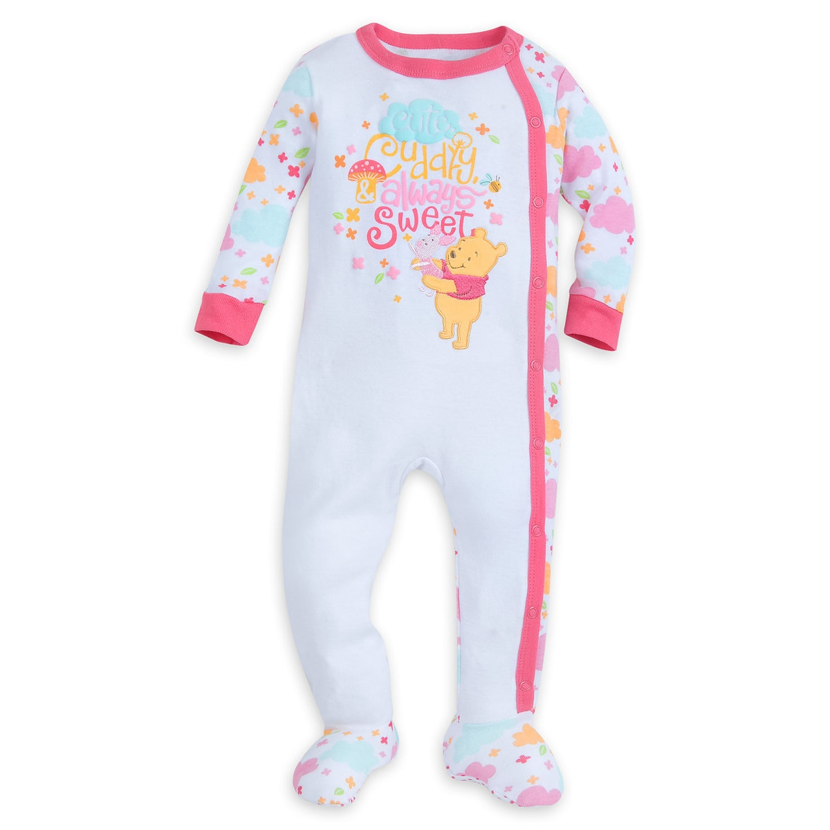 27a716d7dc63 Product Image of Winnie the Pooh and Piglet Footed Stretchie Sleeper for  Baby   1