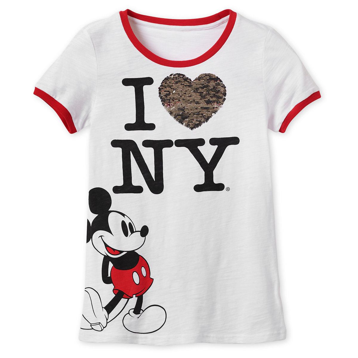 57d530bf2ca8 Product Image of Mickey Mouse Reversible Sequin T-Shirt for Women - New  York City