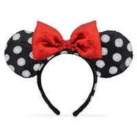 Image of Minnie Mouse Ear Headband - Black and White # 1