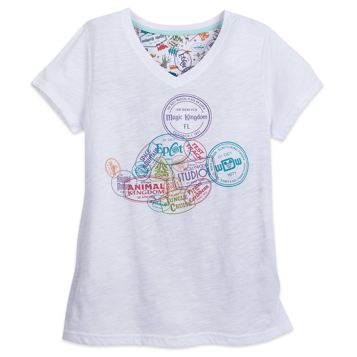 Product Image Of Mickey Mouse Stamp V Neck T Shirt For Women