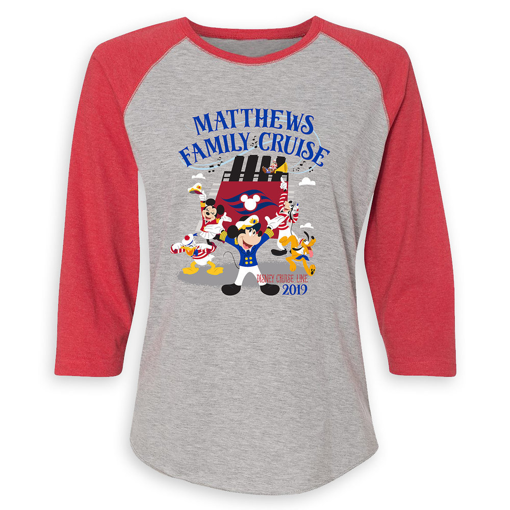 Women's Captain Mickey Mouse and Crew Disney Cruise Line Family Cruise 2019 Raglan T-Shirt - Customized
