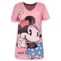 Minnie Mouse V-Neck T-Shirt - Disneyland - Pink - Women