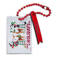 Image of Santa Mickey and Minnie Mouse ''Happy Holidays'' Leather Luggage Tag - Personalizable # 1