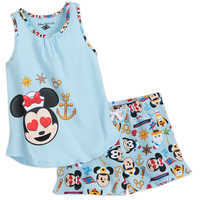 Image of Minnie Mouse Emoji Tank Top and Shorts Set - Disney Cruise Line - Girls # 1