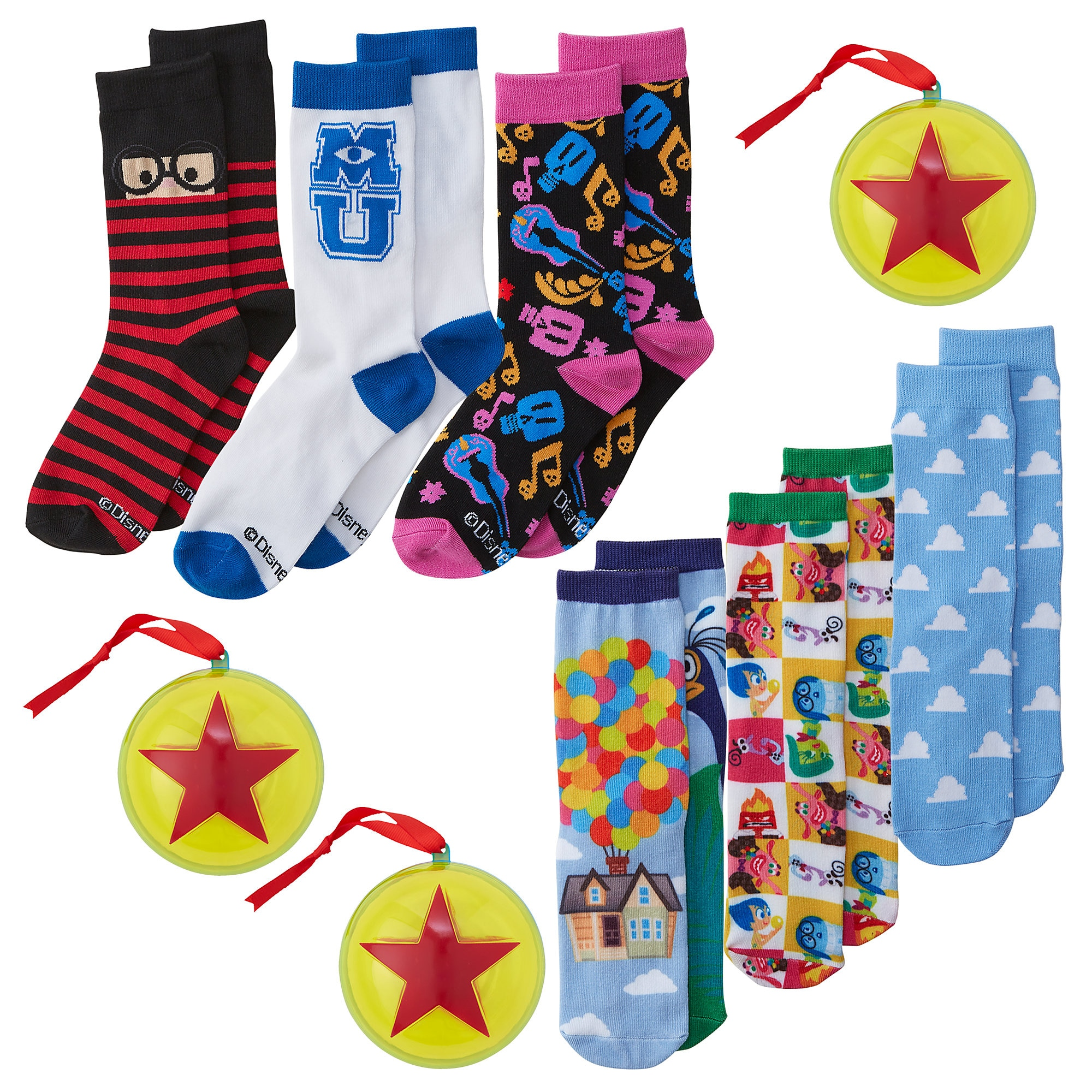 Pixar Holiday Socks in Ornaments Collection for Adults