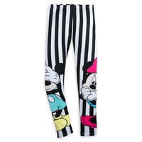 Image of Mickey and Minnie Mouse Striped Leggings for Women by Sugarbird # 1
