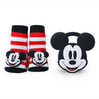 Image of Mickey Mouse Rattle Socks and Teether Gift Set for Baby by Waddle # 1