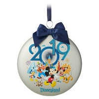 Image of Mickey Mouse and Friends Glass Disk Ornament - Disneyland 2019 # 1