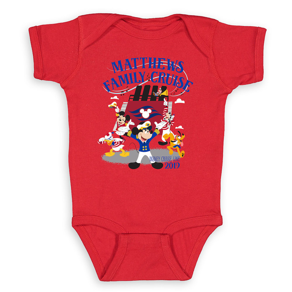 Infants' Captain Mickey Mouse and Crew Disney Cruise Line Family Cruise 2019 Bodysuit - Customized