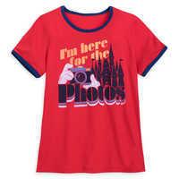 Image of Disney Parks ''I'm here for the Photos'' Ringer T-Shirt for Women # 1