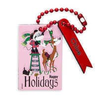 Image of Santa Minnie Mouse and Figaro Leather Luggage Tag - Personalizable # 1