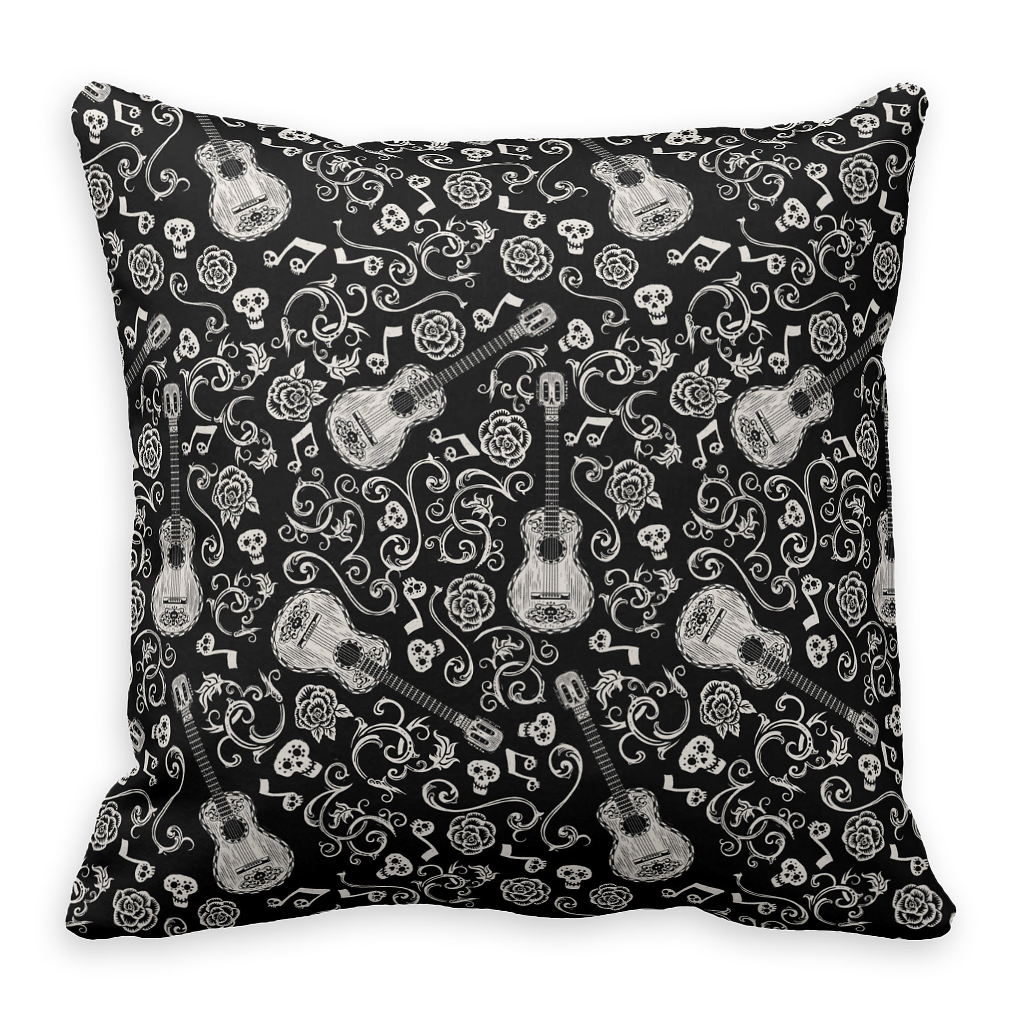 Coco Guitar&Rose Pattern Throw Pillow - Customizable