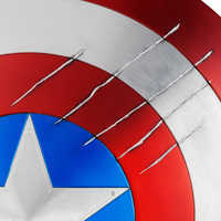 Image of Captain America Shield with Black Panther Claw Marks - Marvel Masterworks Collection Authentic Film Prop Duplicate - Limited Ed. # 4
