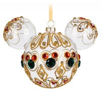 Image of Mickey Mouse Icon Glass Ornament - Bejeweled # 1