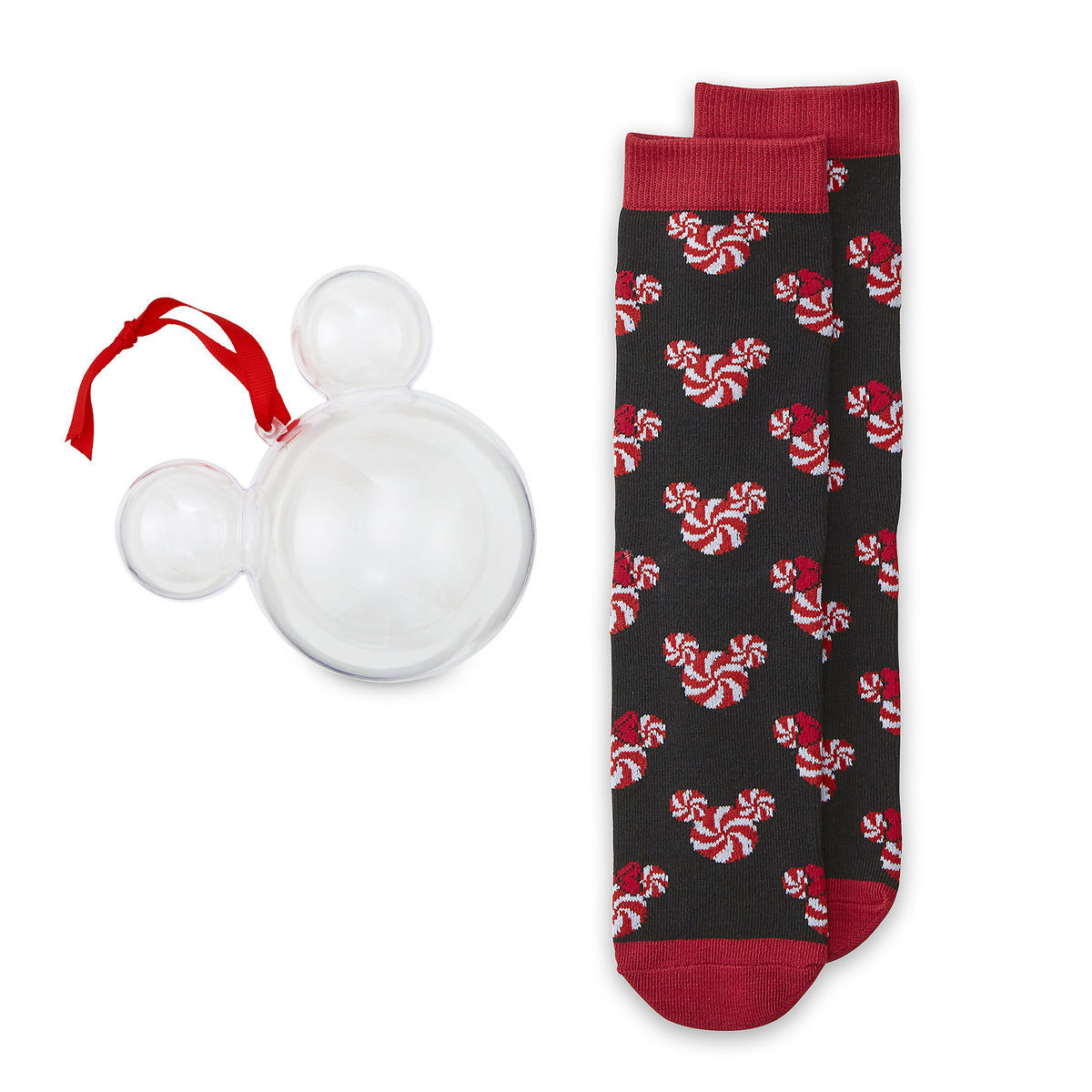 Product Image of Mickey and Minnie Mouse Holiday Candy Socks in Ornament for Adults # 1