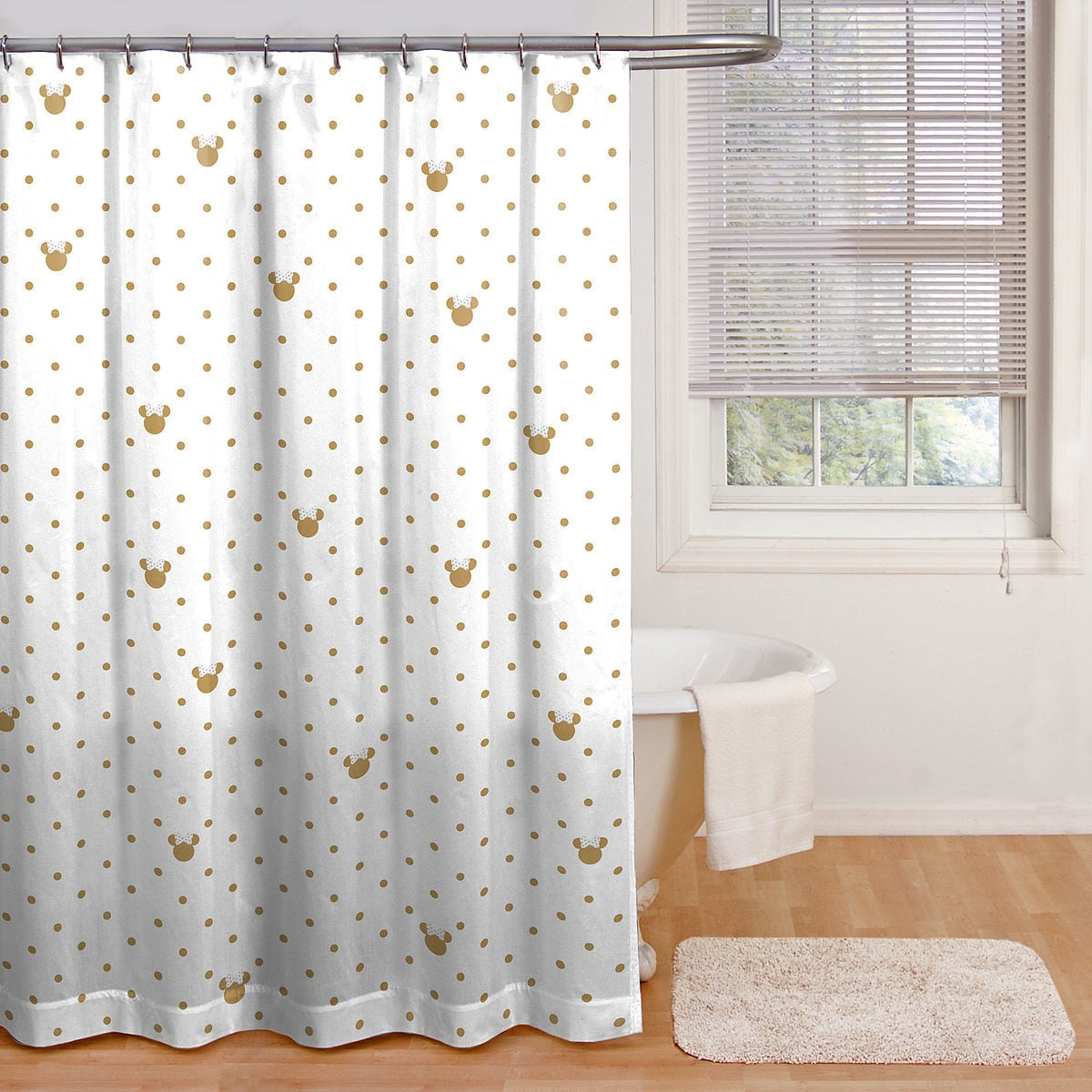 Product Image Of Minnie Mouse Gold Dots Shower Curtain 1